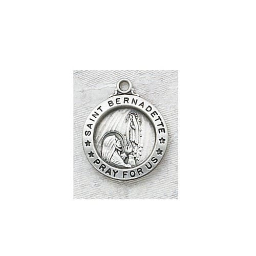 Sterling Silver St. Bernadette Medal with 18 inch chain
