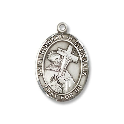 Sterling Silver St. Bernard of Clairvaux Pendant w/ Chain