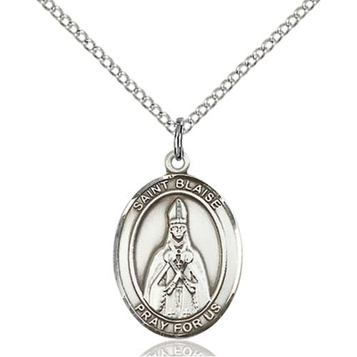 Sterling Silver St. Blaise Pendant w/ Chain