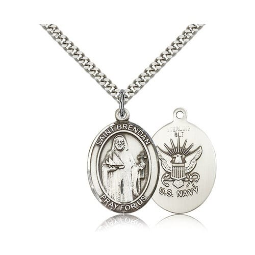 Sterling Silver St. Brendan the Navigator/ Navy Pendant w/ chain