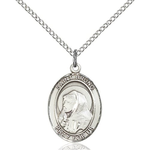 Sterling Silver St. Bruno Pendant w/ Chain