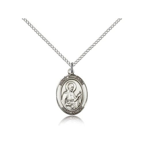 Sterling Silver St. Camillus of Lellis Pendant  w/ Chain