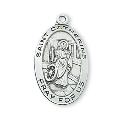 Sterling Silver St. Catherine of Alexandria Medal with 18 inch chain