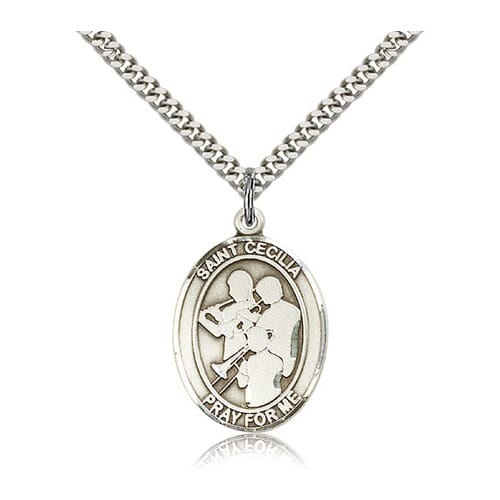 Sterling Silver St. Cecilia / Marching Band Pendant w/ chain