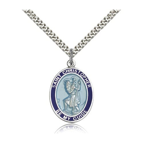 Sterling Silver St. Christopher Blue Border Pendant w/ chain