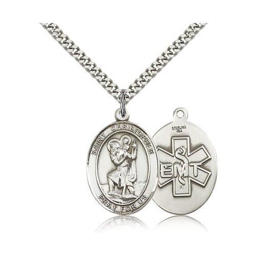 Sterling Silver St. Christopher / EMT Pendant w/ chain