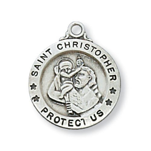 Sterling Silver St. Christopher Medal with 18 inch chain