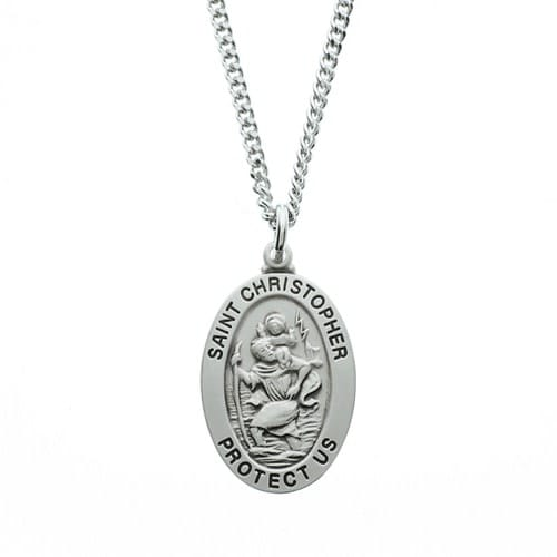 Sterling Silver St. Christopher Medal with 20 inch chain