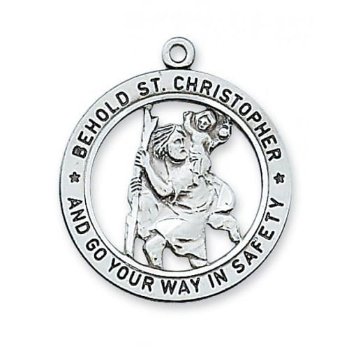 Sterling Silver St. Christopher Medal on 24 inch chain