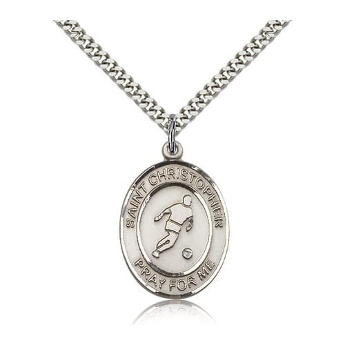 Sterling Silver St. Christopher Pendant w/ chain-Soccer
