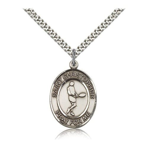 Sterling Silver St. Christopher Medal w/ chain - Tennis