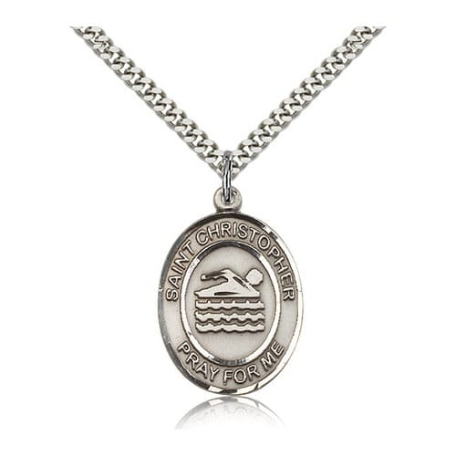 Sterling Silver St. Christopher Medal w/ chain - Swimming