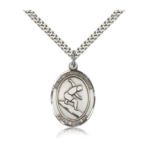 Sterling Silver St. Christopher Medal w/ chain - Surfer