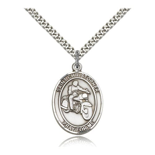 Sterling Silver St. Christopher Medal w/ chain - Motorcycle