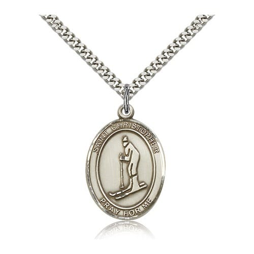 Sterling Silver St. Christopher Medal w/ chain - Ski