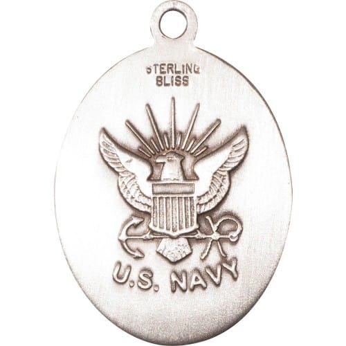 Sterling Silver St. Christopher Pendant/Navy