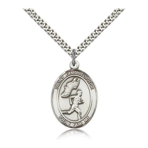 Sterling Silver St. Christopher Medal w/ chain - Track and Field (Male)
