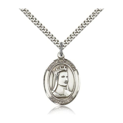 Sterling Silver St. Elizabeth of Hungary Pendant w/ chain