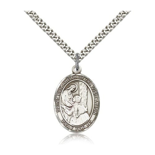 Sterling Silver St. Elizabeth of the Visitation Pendant w/ chain