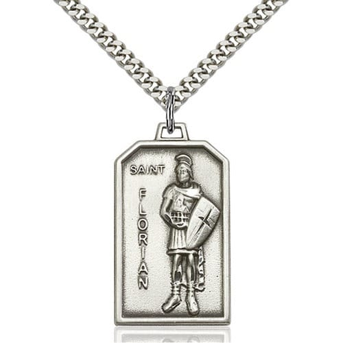 St Florian Necklace: Sterling Silver St. Florian Pendant