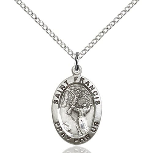 Sterling silver st francis of assisi pendant the catholic company sterling silver st francis of assisi pendant aloadofball Choice Image