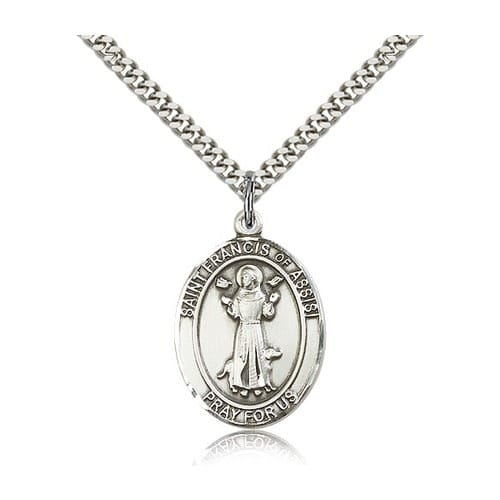 Sterling Silver St. Francis of Assisi Pendant w/ chain