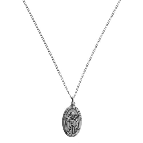Sterling Silver St. Francis Medal with 18 inch chain