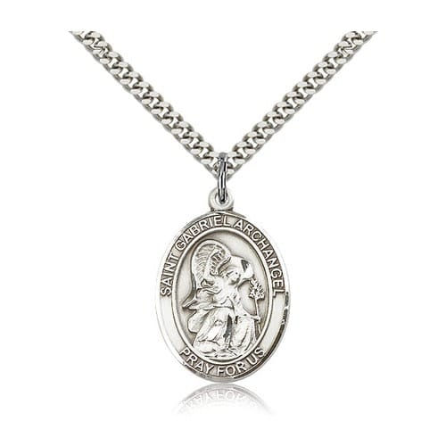 Sterling Silver St. Gabriel the Archangel Pendant w/ chain