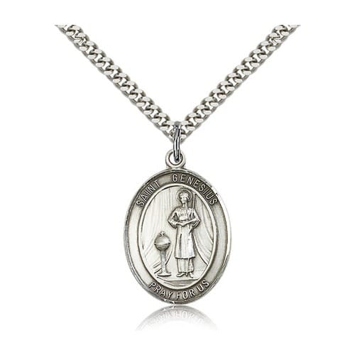 Sterling Silver St. Genesius of Rome Pendant w/ chain