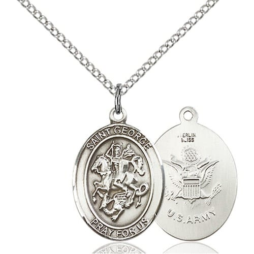 Sterling Silver St. George / Army Pendant w/ Chain