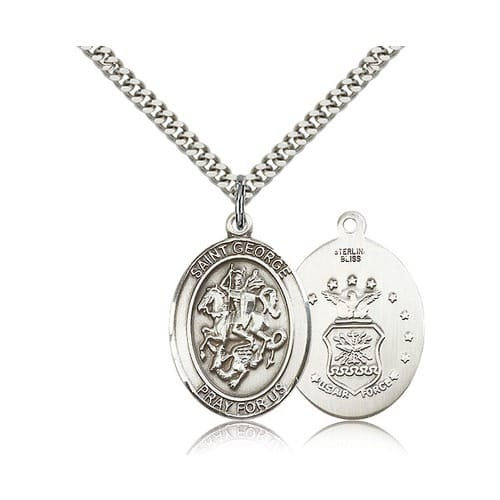 Sterling Silver St. George Pendant w/ US Air Force Insignia