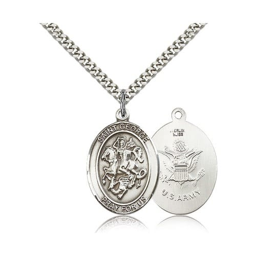 Sterling Silver St. George Pendant w/ US Army Insignia