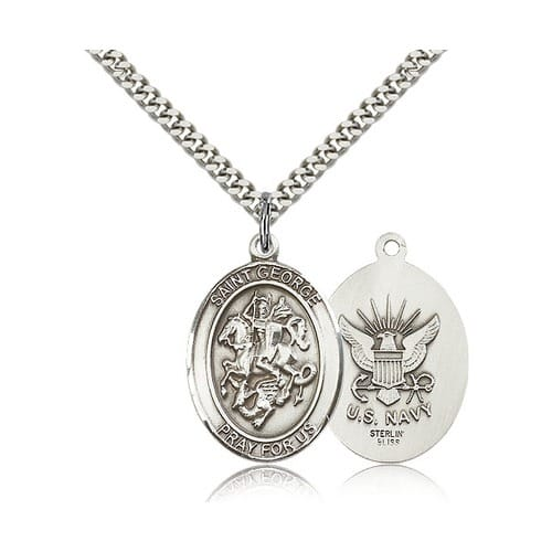 Sterling Silver St. George Pendant w/ US Navy