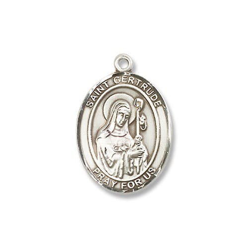 Sterling Silver St. Gertrude of Nivelles Pendant w/ Chain