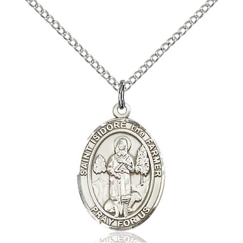 Sterling Silver St. Isidore the Farmer Pendant w/ Chain