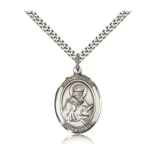 Sterling Silver St. Isidore of Seville Pendant w/ chain