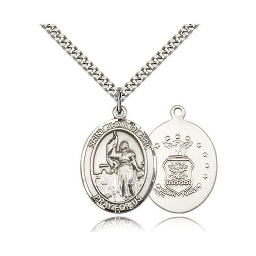 Sterling Silver St. Joan of Arc /  US Air Force Insignia w/ chain