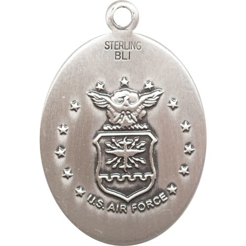 Sterling Silver St. Joan Of Arc / Air Force Pendant  w/ Chain