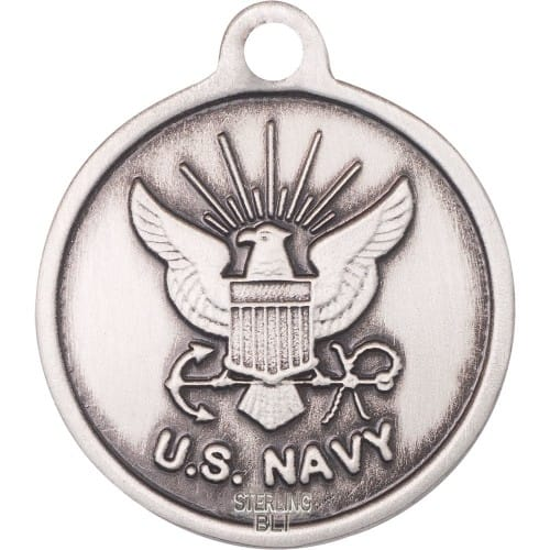 Sterling Silver St. Joan of Arc Pendant / Navy
