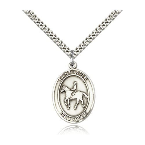 Sterling Silver St. Kateri Takakwitha/ Equestrian Pendant w/ chain