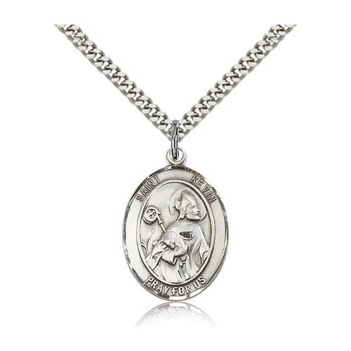 Sterling Silver St. Kevin Pendant w/ chain