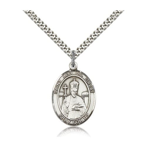 Sterling Silver St. Leo the Great Pendant w/ chain