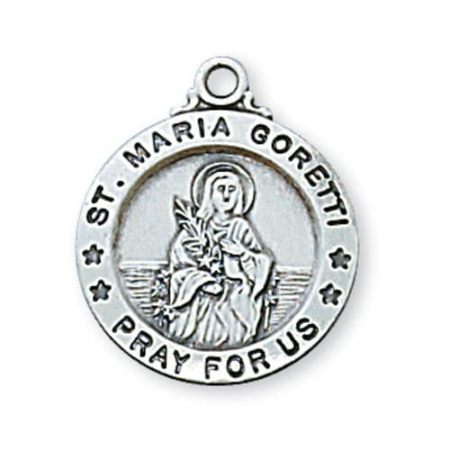 Sterling Silver St. Maria Goretti Medal with 18 inch chain