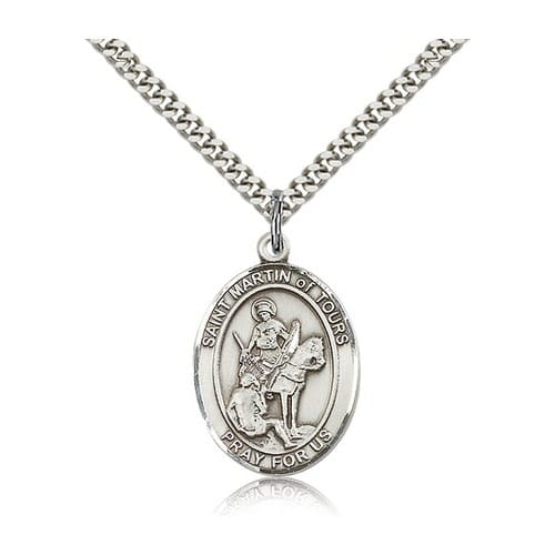Sterling Silver St. Martin of Tours Pendant w/ chain