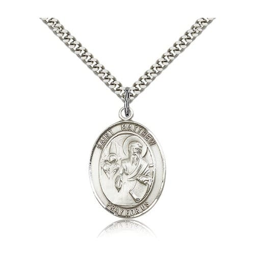 Sterling Silver St. Matthew the Apostle Pendant w/ chain