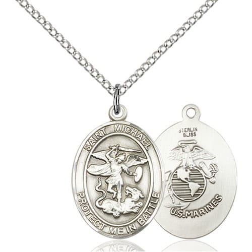 Sterling Silver St. Michael the Archangel Pendant / Marines