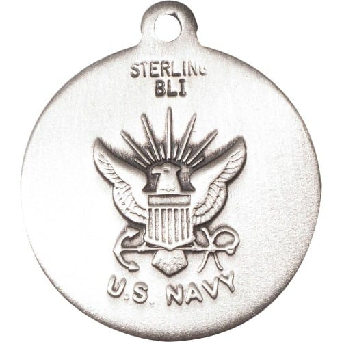 Sterling Silver St. Michael the Archangel Pendant / Navy