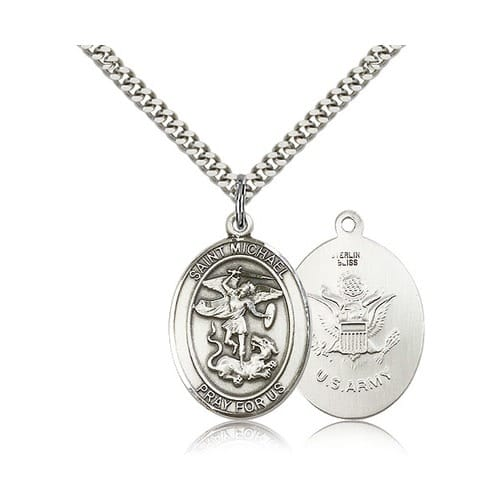Sterling Silver St. Michael/US Army Pendant w/ chain
