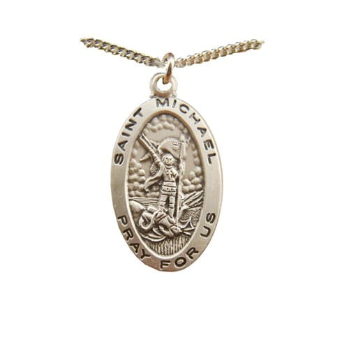 Sterling Silver St. Michael Medal on 18 inch chain