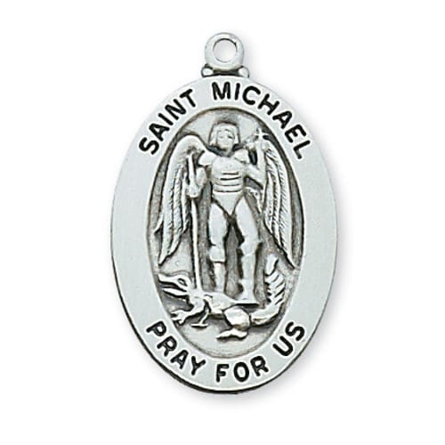 Sterling Silver St. Michael Medal with 20 inch chain